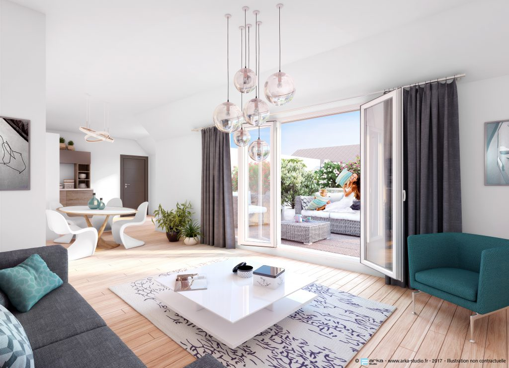 sc nes d 39 int rieur images de synth ses pour la promotion de l 39 immobilier arka studio. Black Bedroom Furniture Sets. Home Design Ideas